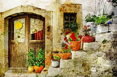 דלת עם פרחיםדלת עם פרחים