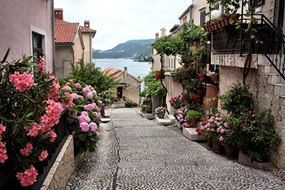 רחוב לים עם פרחים - קרואטיה רחוב לים עם פרחים