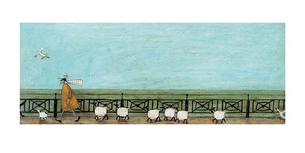 משה עוקב אחר סלסלת הפיקניקנוף, עדר , כבשים, כבשה, נאיבי, סאם טופט, טופט, שמיים, כלב, ציפור, גדר, רועה
