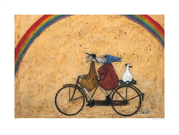 שם, מתחת לקשתאופניים, זוג, אנשים, איש, אישה, ברווז, אווז, קשת, קשת בענן, רכיבה , זוג רוכב על אופניים, נאיבי, סאם טופט