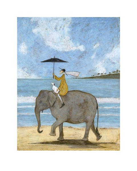 בקצה החולאיש , פיל, איש רוכב על פיל, כלב לבן, כלב, כלבלב, ים, שמשיה, נאיבי, גלים, חוף , ים, סאם טופט