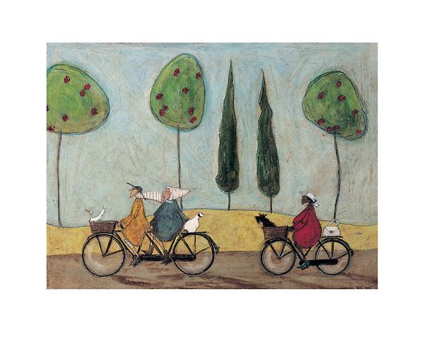 נאיבי, אופניים, עצים, פירות, כלב, אווז, אנשים, זוג זקנים, אישה, סאם טופט, טופט, דרך, הר