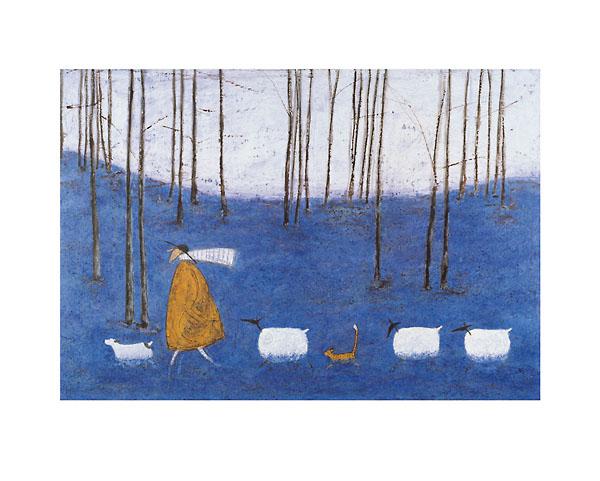 על קצות האצבעות ביער הכחול עצים איש, נאיבי, כבשים, חתול, יער, חורשה, כחול, סאם טופט , פעמונית, טופט