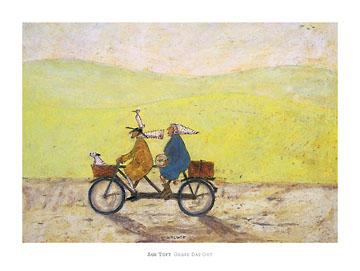 יום אדיר בחוץאופניים, זקנים, נאיבי, צהוב, סאם טופט, חמוד, זוג