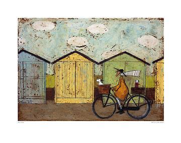 לארוחת הבוקר (קטן)ציור, חמוד, אופניים, כלב, סל, איש, צבעוני, סאם טופט, טופט, נאיבי