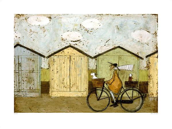 לארוחת הבוקר (גדול)ציור, חמוד, אופניים, כלב, סל, איש, צבעוני, סאם טופט, טופט, נאיבי