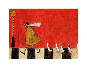 לחצות עם ברווזיםמעבר חציה, ברווזים, אדום, לחצות, איש , חיות , סאם טופט