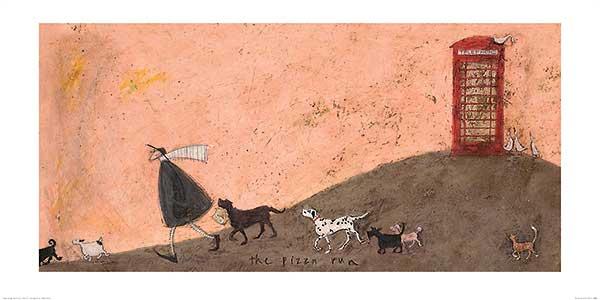 ריצת הפיצהנאיבי, תא טלפון, פיצה, איש, אדון, חיות, סאם טופט, כלבים