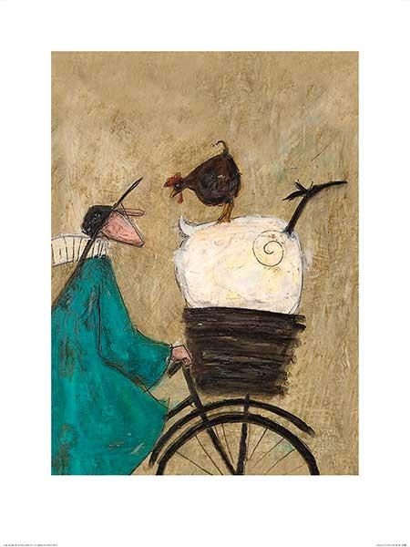 לוקח את הבנות הביתהתרנגולת, כבשה, אופניים, נאיבי, טופט, סאם טופט, איור, ציור, חמוד