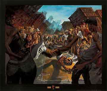 1981מוסיקה היפ הופ ריקוד ברייקדנס ג'ז גז גאז להקה נגנים שחור לבן הופעה אתני