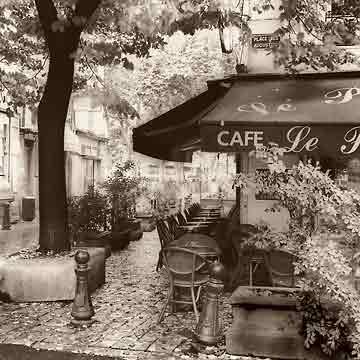 בית קפה בפאריזנוף עירוני בתים חנויות מסעדה שחור לבן פריס פרובנז