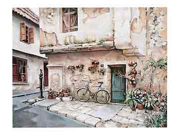 רחוב בפרובנסנוף עירוני בתים חנויות מסעדה פסטורלי פריס פרובנז פרובנס אופנים  אופניים