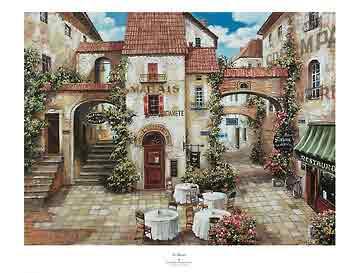 כיכר מאריסנוף עירוני בתים חנויות מסעדה פסטורלי פריס פרובנז פרובנס רחוב פרחים רומנטי