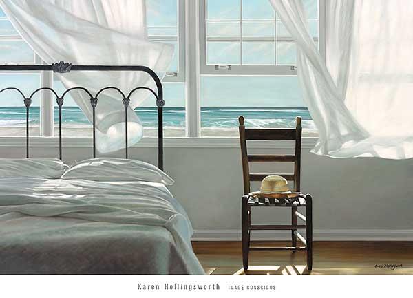 חלום על מיםציור , מיטה, חדר שינה, ים, כובע, כיסא, אוורירי, רוח, רומנטי, רגוע , לבן, כחול, מים