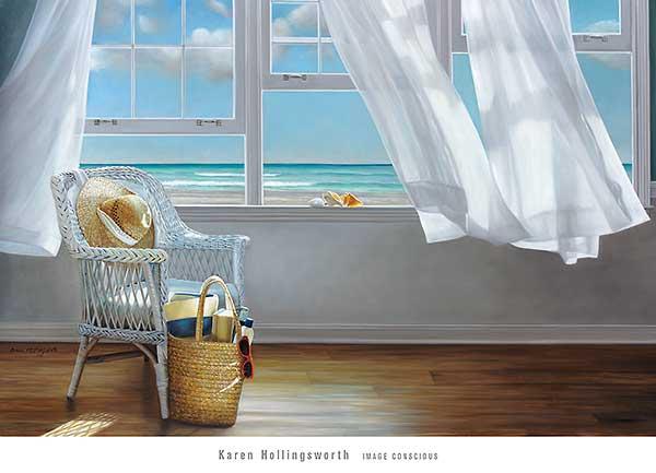 זיכרון של תחושהים, אורירי, רוח, וילון, כיסא, תיק , כובע, קיץ, רומנטי, לבן, רגוע