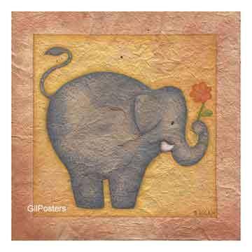 פיל ופרחנאיבי חיות ילד אושר שלווה