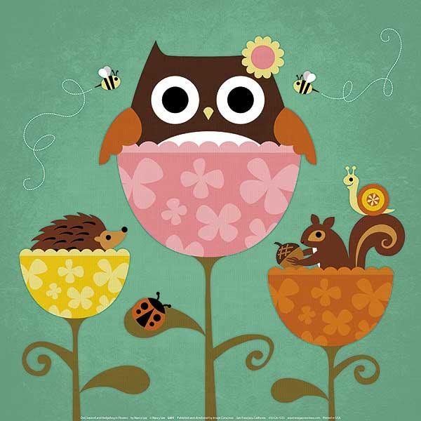 ינשוף, סנאי וקיפוד בפרחיםינשוף, סנאי, קיפוד , פרחים, ילדים, חמוד, נאיבי, ילדותי, איור, דבורים, חיפושית