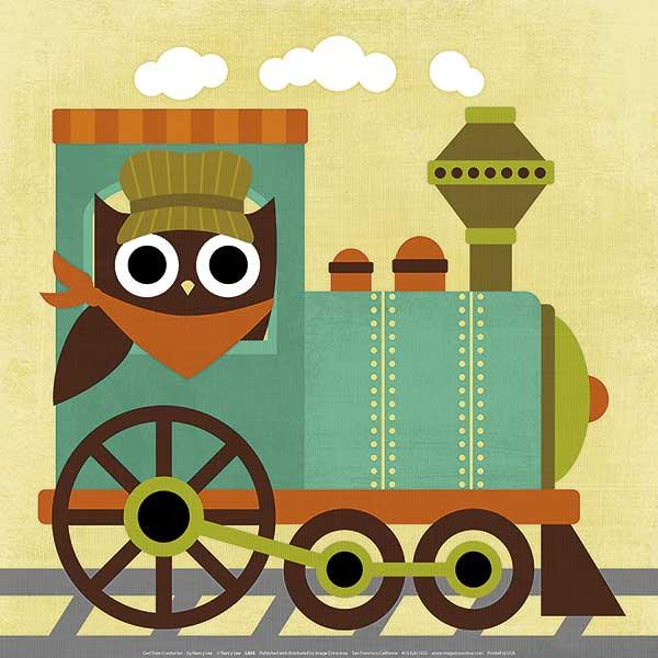 ינשוף נהג קטרינשוף, קטר, רכבת, ילדים, חמוד, נאיבי, איור, ילדותי