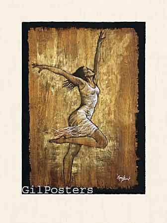 אישה בתנועה 2מחול אתני מודרני חום לבן מתיחה סחרור לרקוד