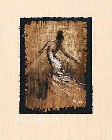 אישה בתנועה 4מחול אתני מודרני חום לבן מתיחה סחרור לרקוד