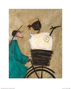 לוקח את הבנות הביתה (קטן)תרנגולת, כבשה, אופניים, נאיבי, טופט, סאם טופט, איור, ציור, חמוד