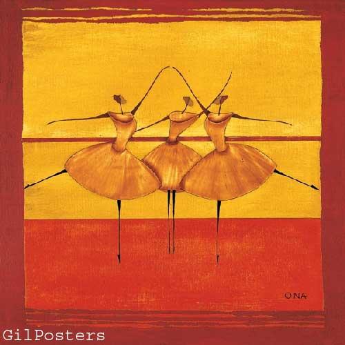 שלישיה בכתוםאתני כתום אונה רקדנית אדום חום צהוב שמלה תנועה מחול טריו שלישייה