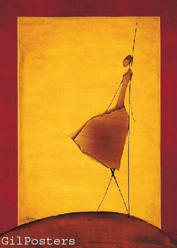 רקדנית במנוחהאתני כתום אונה רקדנית אדום חום צהוב שמלה