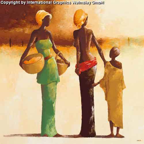 פגישהעיצוב דקורציה ירוק חום חם אפריקאי אפריקני דמויות בנות