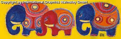 משפחת הפילים 1עיצוב דקורציה ירוק חום חם אפריקאי אפריקני ילדים