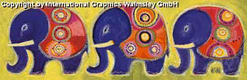 משפחת פילים 3עיצוב דקורציה ירוק חום חם אפריקאי אפריקני ילדים