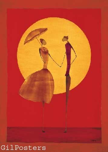 זוג בשמשאתני כתום אונה רקדנית אדום חום צהוב שמלה  מטריה שימשיה