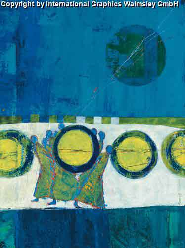 צל הירחעיצוב דקורטיבי פינת אוכל כחול ירוק אבסטרקט מודרני