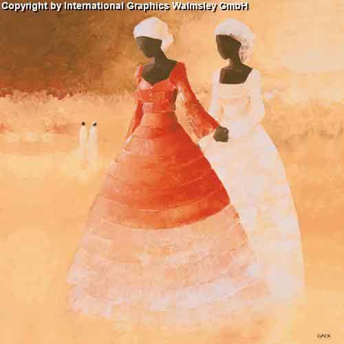 בנות באדום ולבןעיצוב דקורטיבי פינת אוכל דמויות חם אורינטלי מזרחי כושי