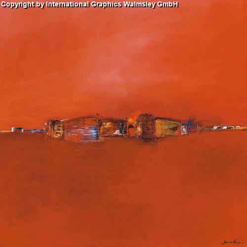 נוף אדוםאבסטרקטי נוף עיצוב דקורציה קו ישר אופק בתים