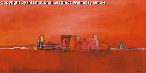 נוף אדום 2אבסטרקטי ציור נוף עיצוב דקורציה קו ישר אופק בתים