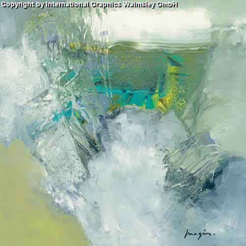סערה 1עיצוב צבעי מים ירוק אפור דקורציה כתמי צבע