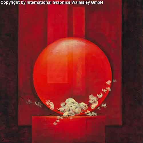 סין 2עיצוב דקורטיבי  פינת אוכל  אורינטלי מזרח רחוק אדום עיגול ציור