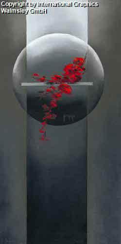 ענף אדוםעיצוב דקורטיבי עיגול פינת אוכל אדום אורינטלי פרחים אבסטרקט מודרני