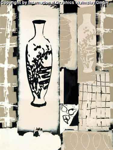 חרסינהשחור לבן אלגנטי דקורטיבי מעוצב עיצוב אבסטרקט אגרטל ואזה