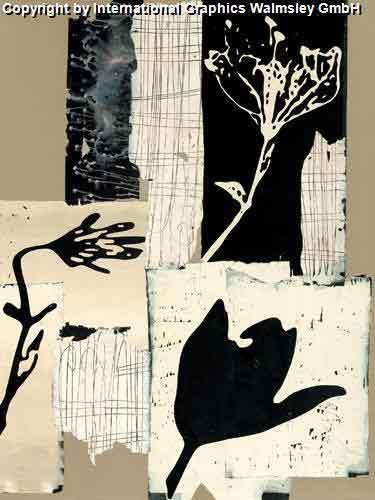 פרחשחור לבן אלגנטי דקורטיבי מעוצב עיצוב אבסטרקט אגרטל ואזה