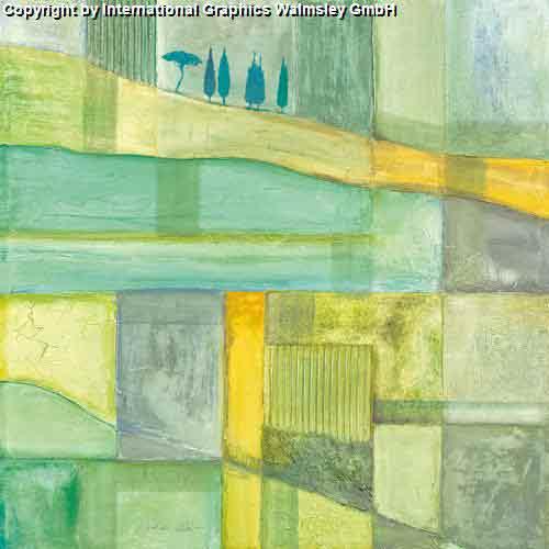 קו נוף 2ציור ירוק ירקרק אבסטרקט ברושים