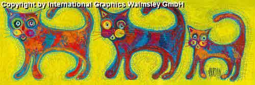 שלישיית חתוליםבעלי חיים אורינטלי מזרחי ציור קבוצה חתול