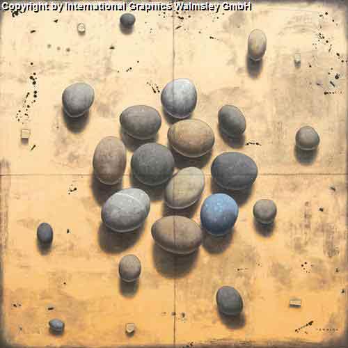 מיקבץ אבנים עיצוב דקורטיבי  פינת אוכל סלון קרם מזרח  דקורציה אפור
