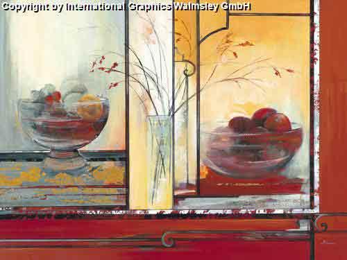 פירות 2פרח קערה אדום אגרטל ואזה דומם קישוט עיצוב פינת אוכל אוירה