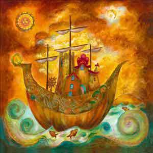 ספינה קסומהדמות אורינטלי אבסטרקט אנשים ציור קבוצה