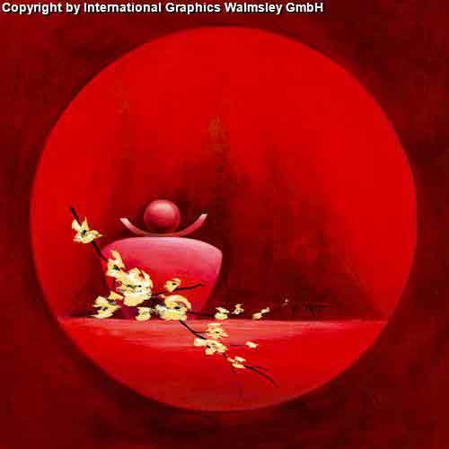 אדום עדין 1אורינטלי מזרחי ציור ואזה פרחים עיצוב אגרטל כד