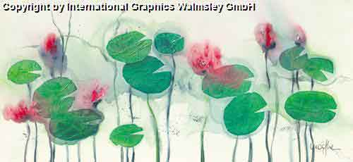 חבצלות מים אימפרסיוניסטי צבעי מים ירוק אדום נוף ציורי עלים ירוקים