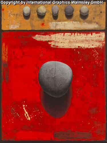 אבניםעיצוב דקורטיבי  פינת אוכל  אורינטלי מזרח רחוק אדום כתום עיגול ציור