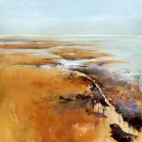 חוף מבטחים אבסטרקט שמים ירוק שדה כתום תכלת כחול