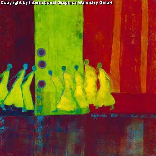 דמות אורינטלי אבסטרקט אנשים ציור קבוצה